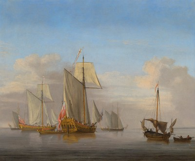 Peter Monamy , A naval squadron of the red about to leave the anchorage in a calm