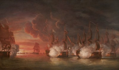 Dominic Serres , Sunset after Hawke's Victory at The Second Battle of Cape Finisterre, 14 October 1747: The Escape of the French Commodore