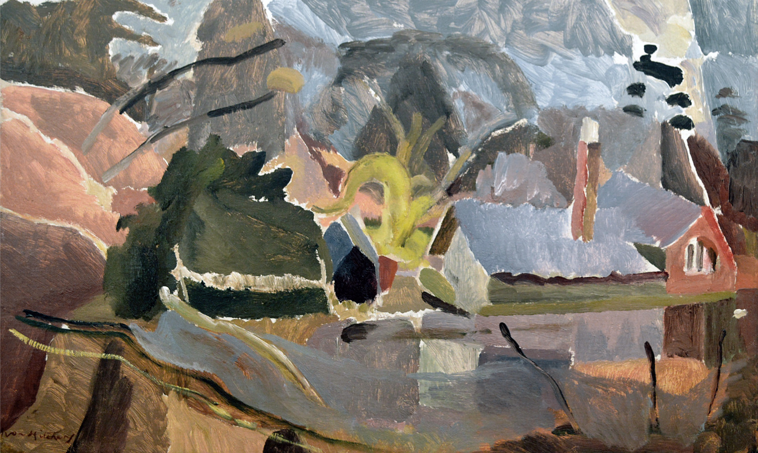 Ivon Hitchens 1893-1979 House by Lake, c.1934 oil on canvas 19 x 32 in / 48 x 81 cm