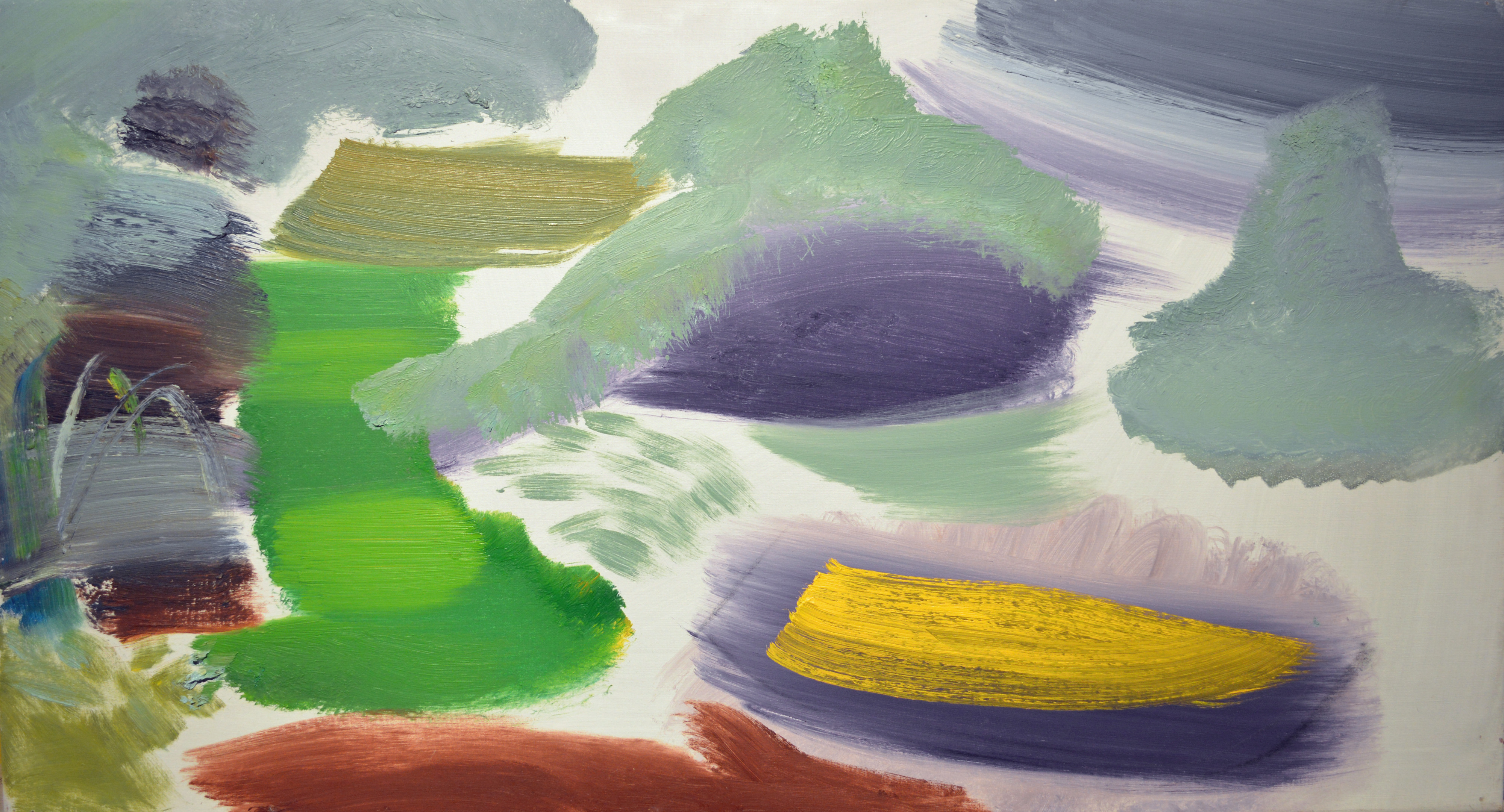 Ivon Hitchens 1893-1979 Little Yellow Boat , c.1974 oil on canvas 16 x 29 in / 40 x 74 cm