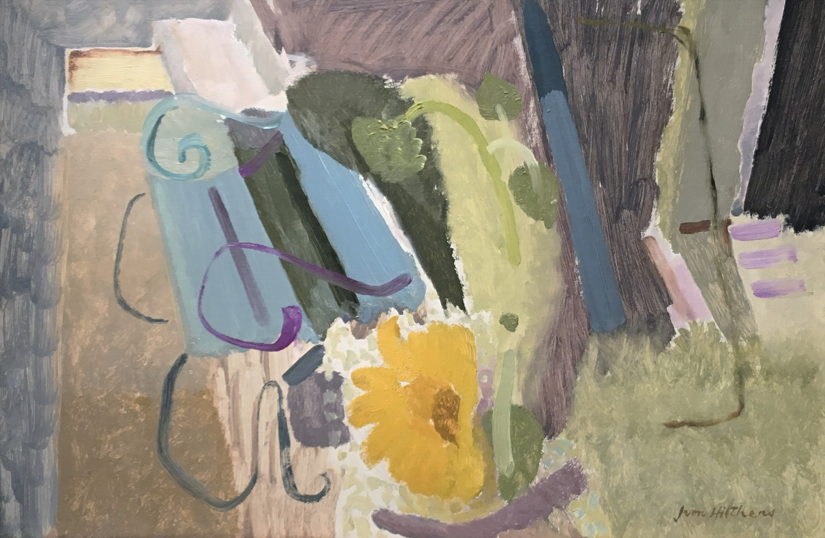 Ivon Hitchens 1893-1979 Sunflowers & Garden Seat, Hampstead, 1936 oil on canvas 29 x 19 in / 74 x 48 cm