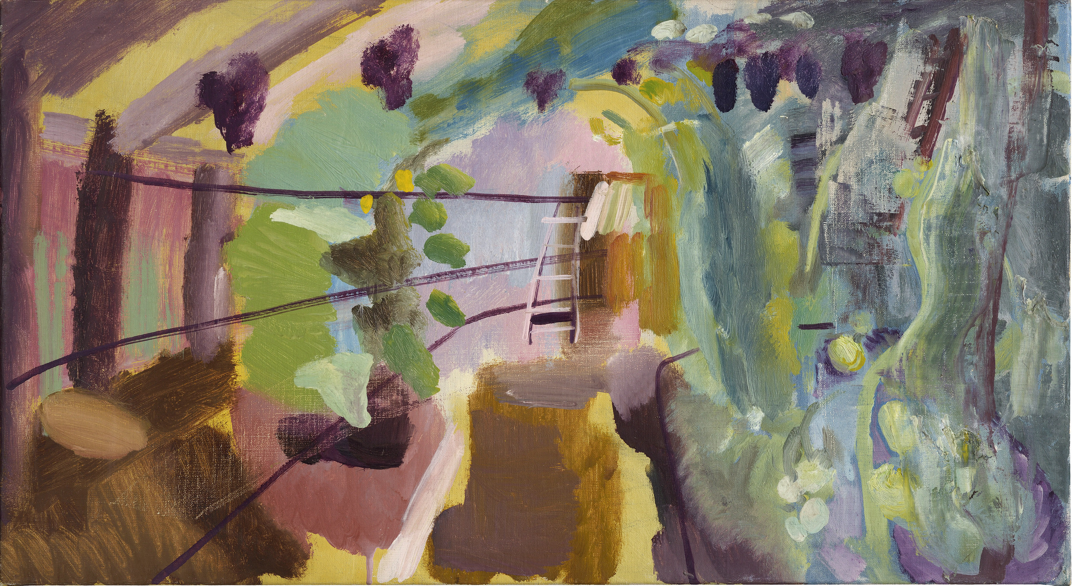 Ivon Hitchens 1893-1979 Greenhouse, Iping, c.1940 oil on canvas 16 x 29 in / 40 x 73 cm