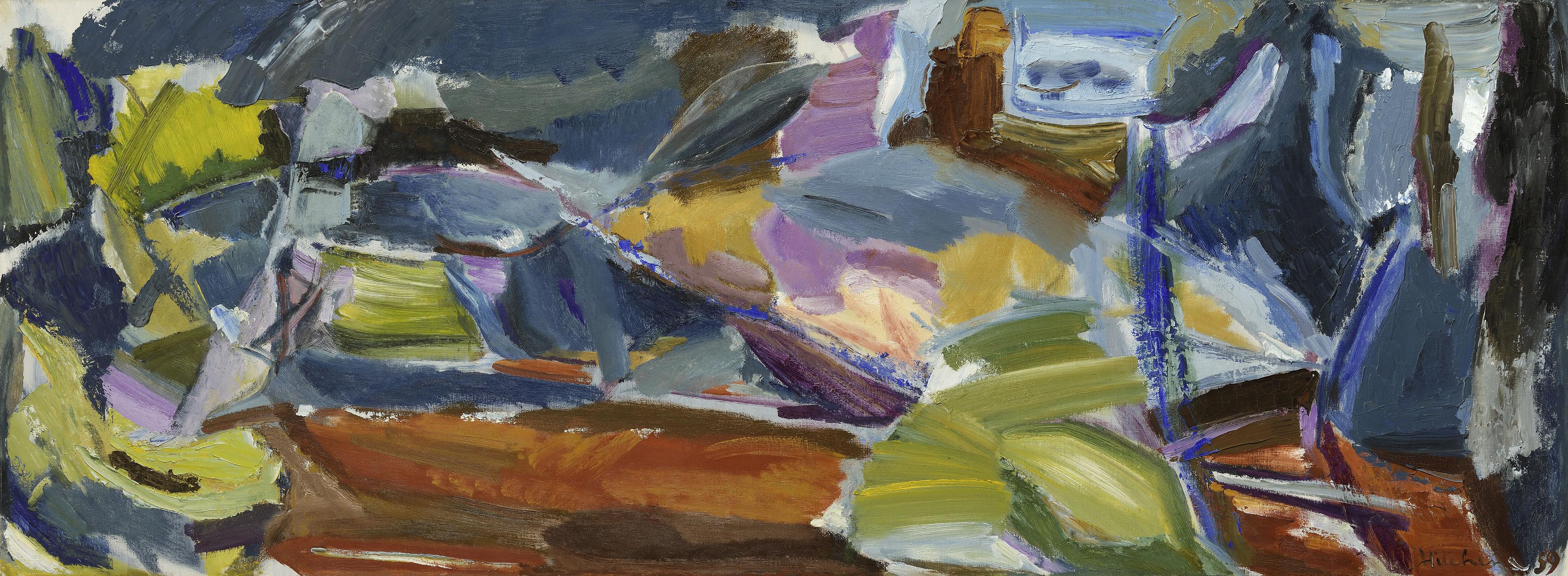 Ivon Hitchens 1893-1979 Larchwood Path Variation 1962 Oil on canvas 15 x 82 in / 38 x 210 cm