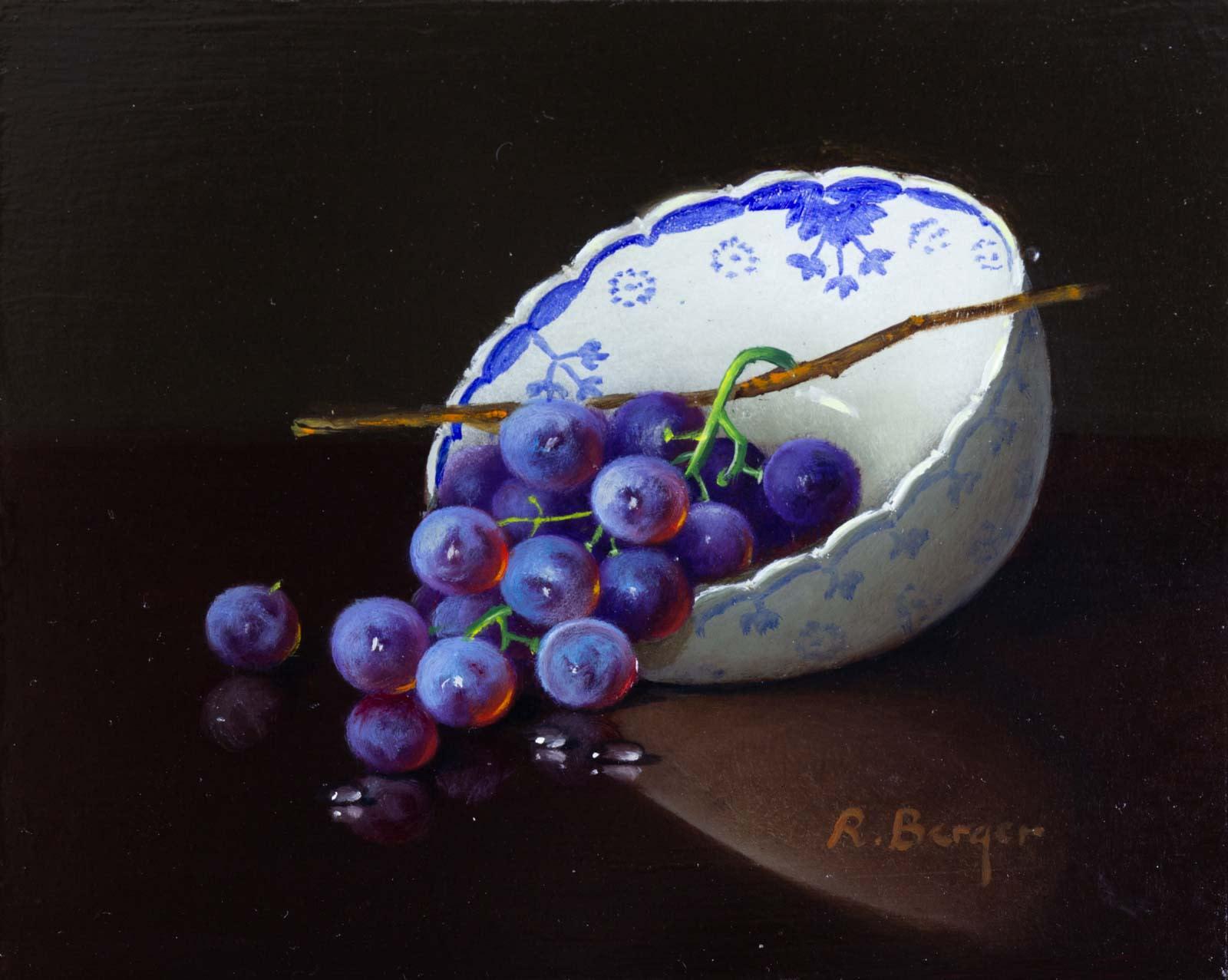 Grapes in Porcelain Bowl