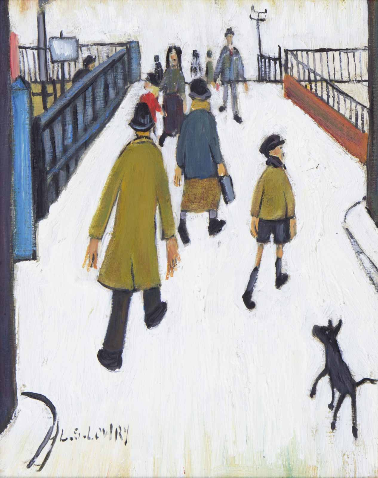 Crossing Over the Footbridge after L.S.Lowry
