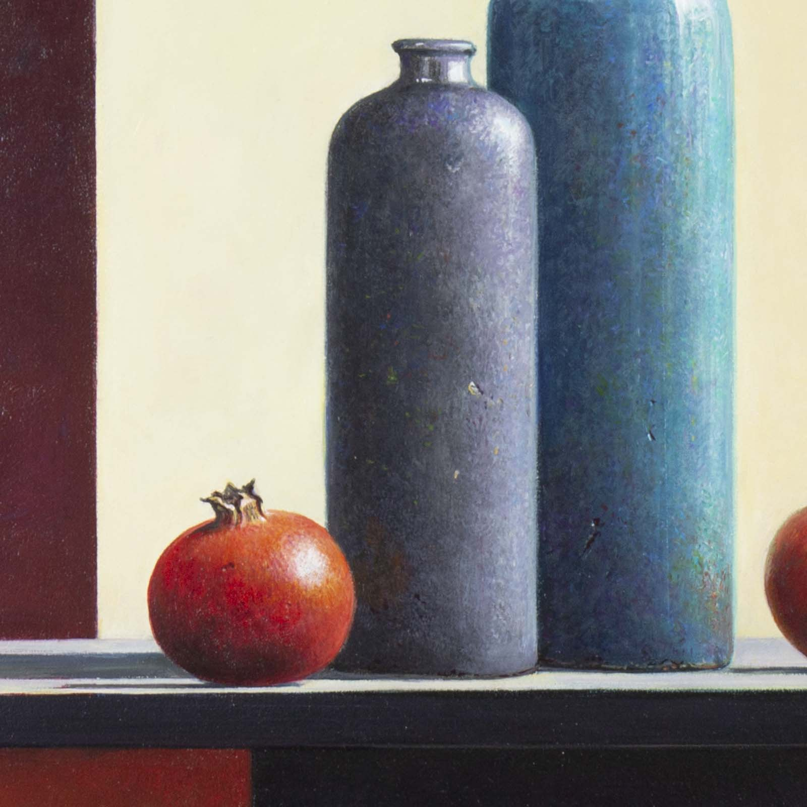 Two Stone Vases with Pomegranates
