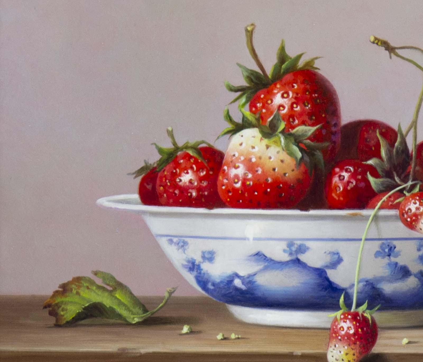Strawberries in Porcelain Bowl