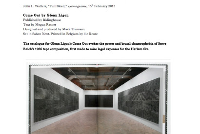page view, Come Out by Glenn Ligon, published by Ridinghouse