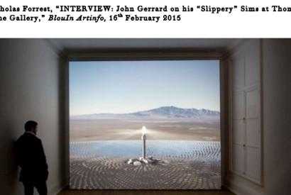 John Gerrard, Solar Reserve, 2014. Installation view at Thomas Dane Gallery, London