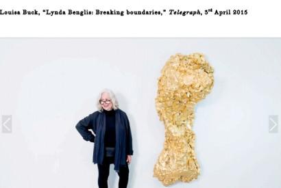 Artist Lynda Benglisnpictured with her work Ghost Dance/Pedmarks, 1995-96