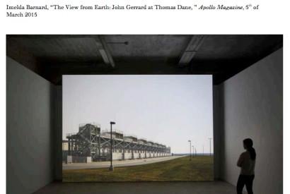 Installation view, 'John Gerrard: Farm' at Thomas Dane Gallery, 7 February–21 March 2015.