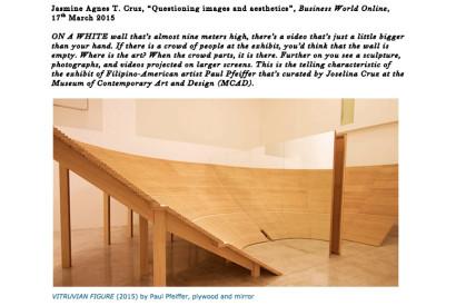 VITRUVIAN FIGURE (2015) by Paul Pfeiffer, plywood and mirror