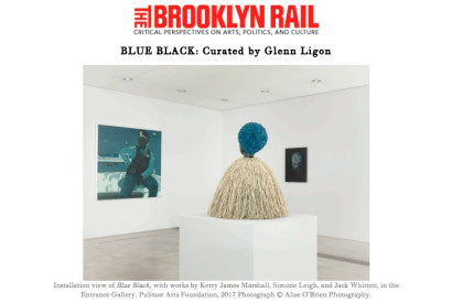 Installation view of Blue Black, with works by Kerry James Marshall, Simone Leigh, and Jack Whitten, in the Entrance Gallery. Pulitzer Arts Foundation, 2017 Photograph © Alise O'Brien Photography