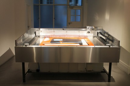 Mark Selby Untitling Machine (2014), Metal, rubber, electronics, paint stripper, water, brushes H 100 x W 220 x D 120 cm