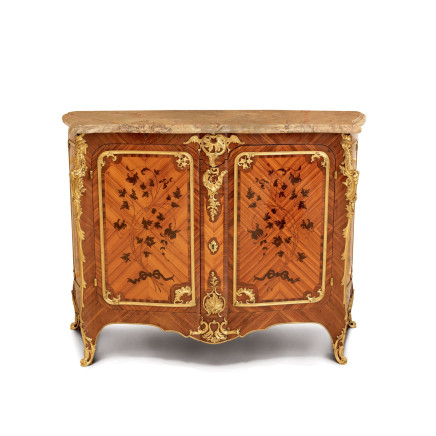 Maison Durand - Double panel cabinet with Floral marquetry and gilt bronze