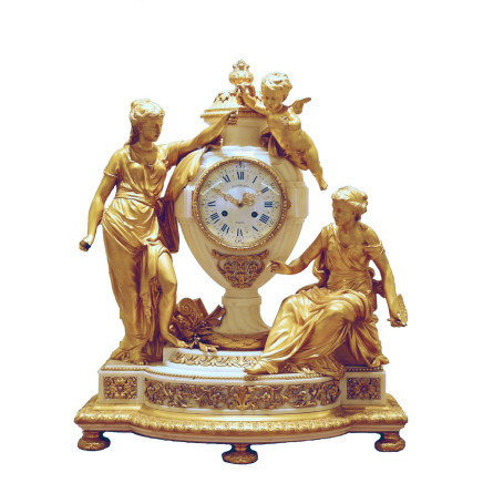 Raingo Frères - Gilt-bronze and marble mantel clock, late 19th century