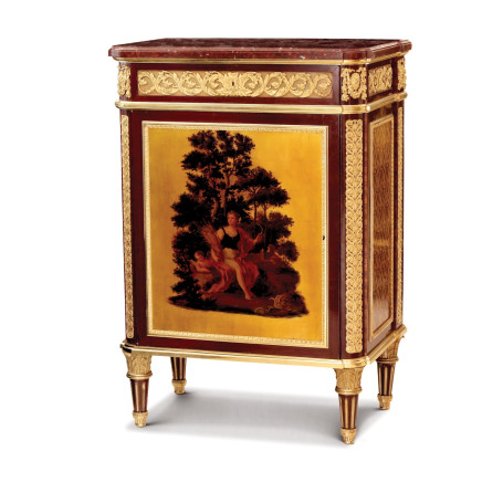 Maison Beurdeley - Cabinet in amaranth veneer and rosewood, with rouge marble top, end of 19th century