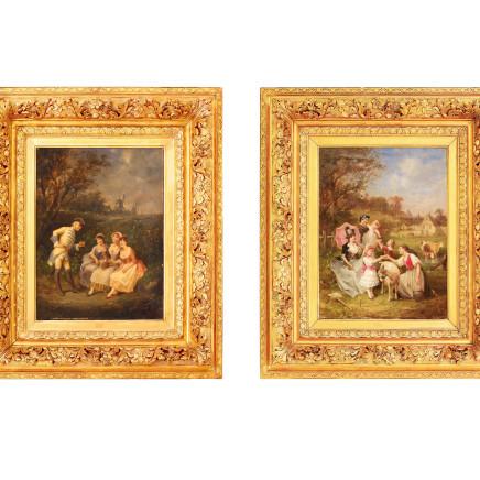 Francois Louis Lanfant de Metz - Pair: Women and children and Gallant Scenes
