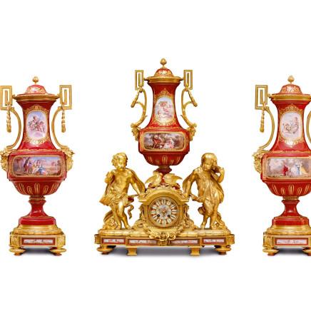 Japy Frères - A Sèvres style gilt bronze three clock garniture