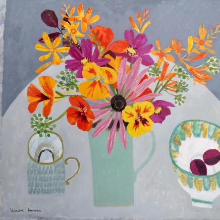 Vanessa Bowman - Garden Flowers in Turquoise Jug