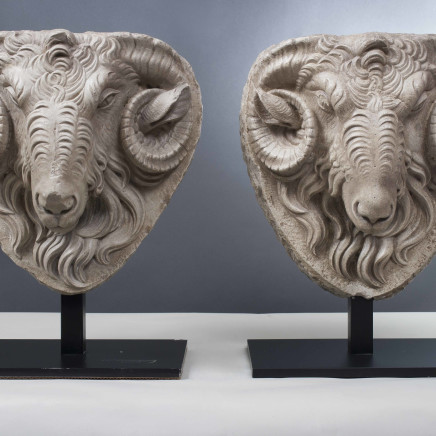 Pair of Marble Ram heads