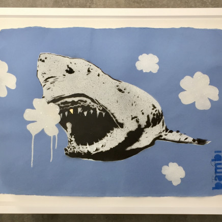 Gold Tooth Shark with White on Blue Flower Power (AVAILABLE UNFRAMED ONLY IF PURCHASED ONLINE THROUGH OUR STORE) , 2016