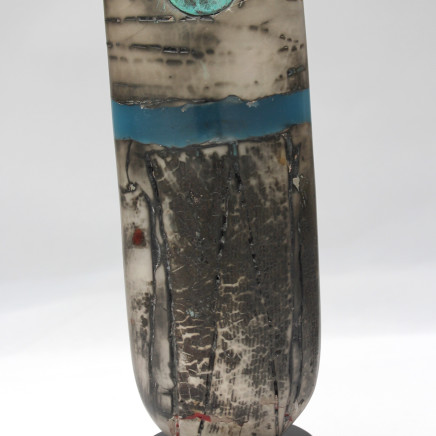 Peter Hayes - Raku Bow with disc & Blue Wave