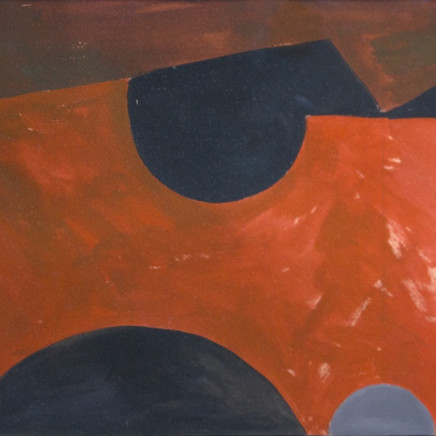 Wilhelmina Barns-Graham CBE - Vermillion Form on Black and Brown