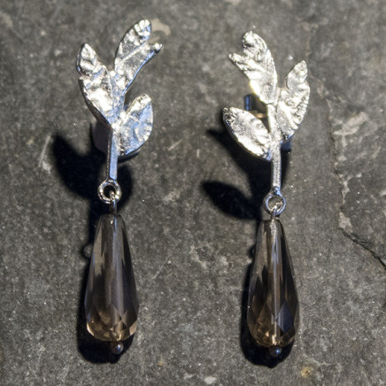 Holly Belsher - Silver 'Three Leaves' earrings with Smokey Quartz