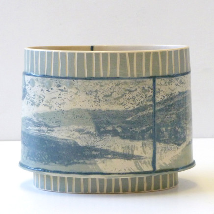 Emily-Kriste Wilcox - Small Oval Vessel, Grey Stripe with Navy Joins