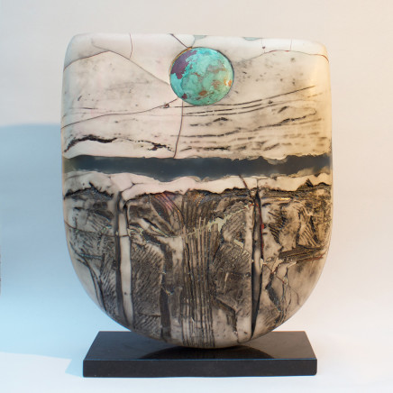 Peter Hayes - Raku Bow with Blue Wave