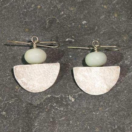 Roberta Hopkins - Silver 'Half Moon' earrings with Pale Green Amazonite