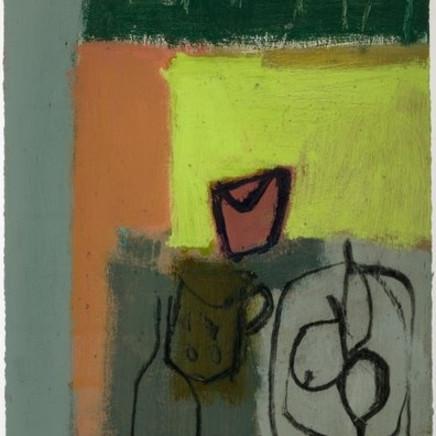 Tony Scrivener - Mug, Jug, Bottle and Plate with Fruit, 2012