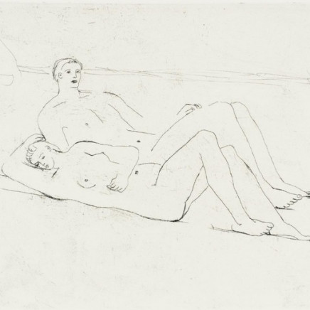 Henry Moore OM CH, Reclining Figures on Beach, 1975