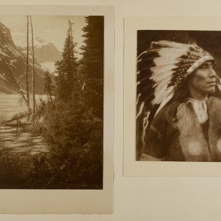 Untitled [Diptych of a landscape and portrait of an indigenous man]