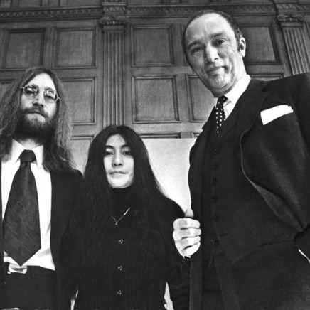 John Lennon and his wife, Yoko Ono, in Canada as part of their crusade for peace, meet with Prime Minister Pierre Trudeau on Dec. 24, 1969 in Ottawa