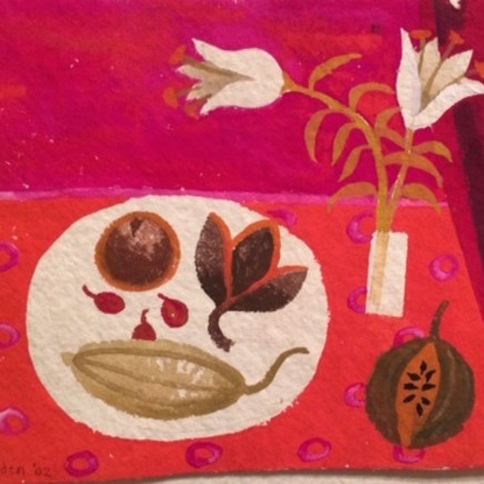 Mary Fedden - Still life with lilies and pomegranate