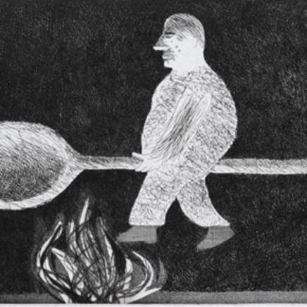 David Hockney - Riding around on Cooking-Spoon