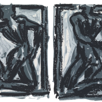 'Two Figures, two movements' 1991, screen print, 45cm x 61cm, £250.00