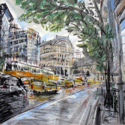 'Taxis and Trams, Budapest', 35x40cm