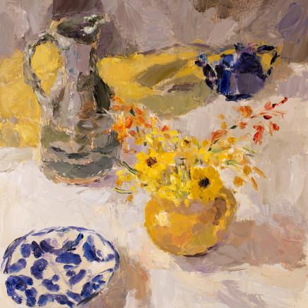 Lynne Cartlidge - Yellow Jug of Flowers with Ochre Cloth