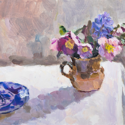 Lynne Cartlidge - Hellebores and a Blue Patterned Plate