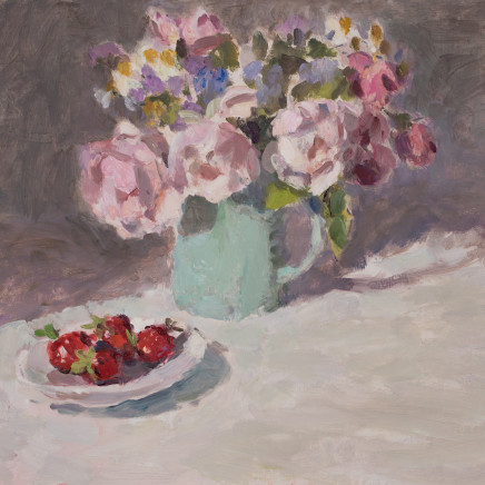 Lynne Cartlidge - Roses in a Blue Jug with Strawberries
