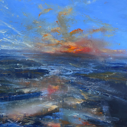 Iwan Gwyn Parry - Estuary High Tide with Distant Sunset