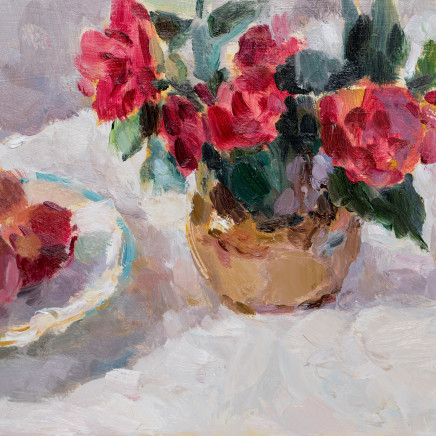 Lynne Cartlidge - Camellias with a Plate of Plums