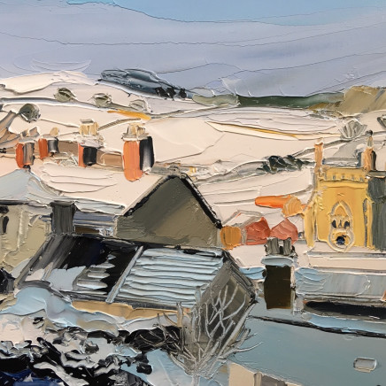 Sarah Carvell - Snow covered Roofs & St. Marys in Sunlight