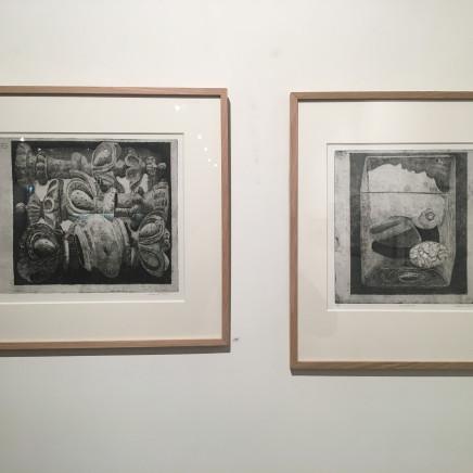 """""""Ornements : Pièces d'échec en bois trouées par des vers"""", 1968 et """"Souvenir d'Andros"""", 2014"""