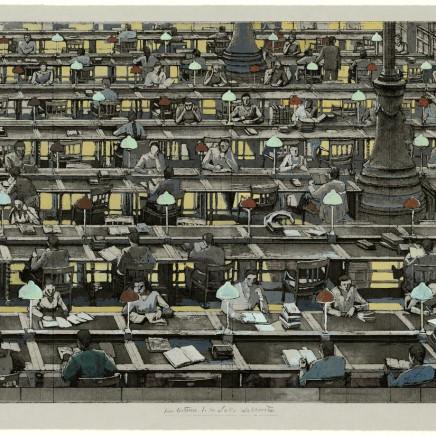 Érik Desmazières, Les lecteurs de la salle Labrouste. (épreuve rehaussée), 2001 et 2005
