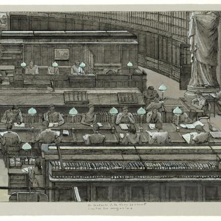 Érik Desmazières, Les lecteurs de la salle Labrouste. L'entrée des magasins. (épreuve rehaussée), 2001 et 2011