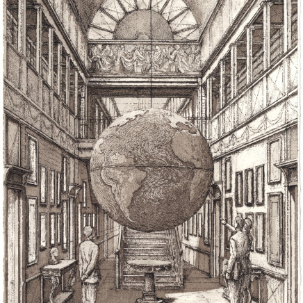 Érik Desmazières, Entrance Hall with a globe, 2009